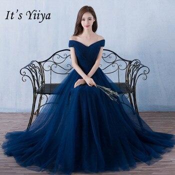 Es Yiiya vestidos de dama de honor largo elegante boda vestido de fiesta Plus tamaño real azul de dama de honor vestido de traje de fiesta DSYA003