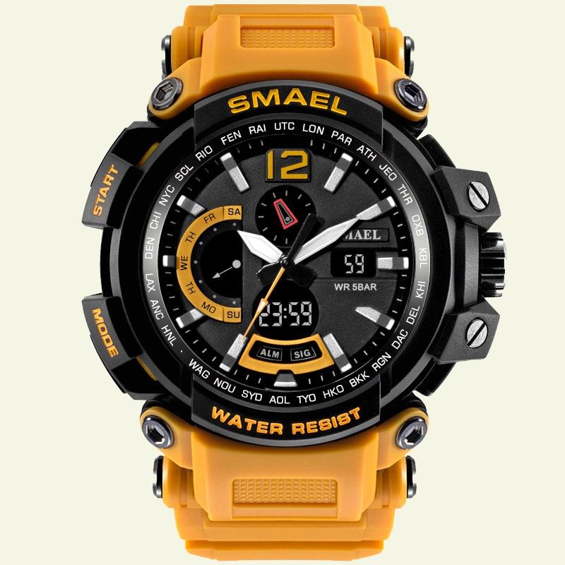 クォーツ腕時計レザーSMAELブランドアナログデジタルLED時計男性防水レロジオmasculino1702男性腕時計スポーツミリタリーНаручныечасы