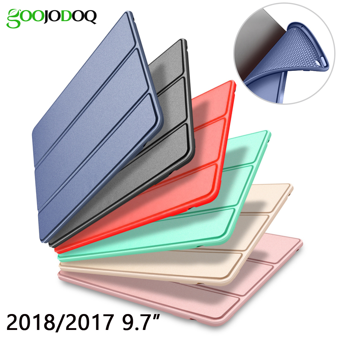 For iPad 9.7 2017 2018 Case A1822 A1893 Silicone Soft Back PU Leather Smart Cover for iPad 2018 Case 9.7 inch 2017 Case