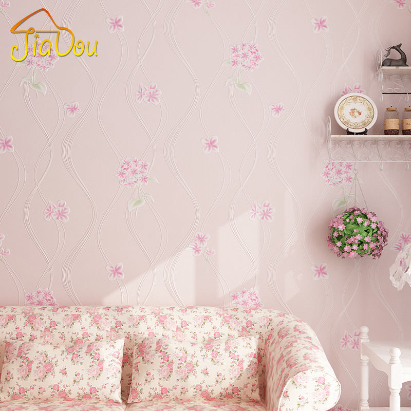3D Embossed Non-woven Wallpaper Living Room Bedroom Korean Style Pastoral Flower Wall Papers Home Decor Wall Paper For Walls