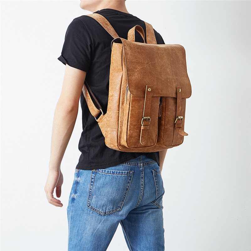 Backpacks Dynamic Nesitu Vintage High Quality Brown Genuine Leather Men Backpacks Mens Travel Bags Casual Daypacks Male Shoulder Bag M6355
