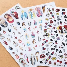 Newest F-192 193 3d nail sticker color religious back adhesive design decals manicure decoration