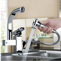 Luxury Pull Out Chrome Finish Kitchen Faucet Mixer Single Hole Deck Mounted
