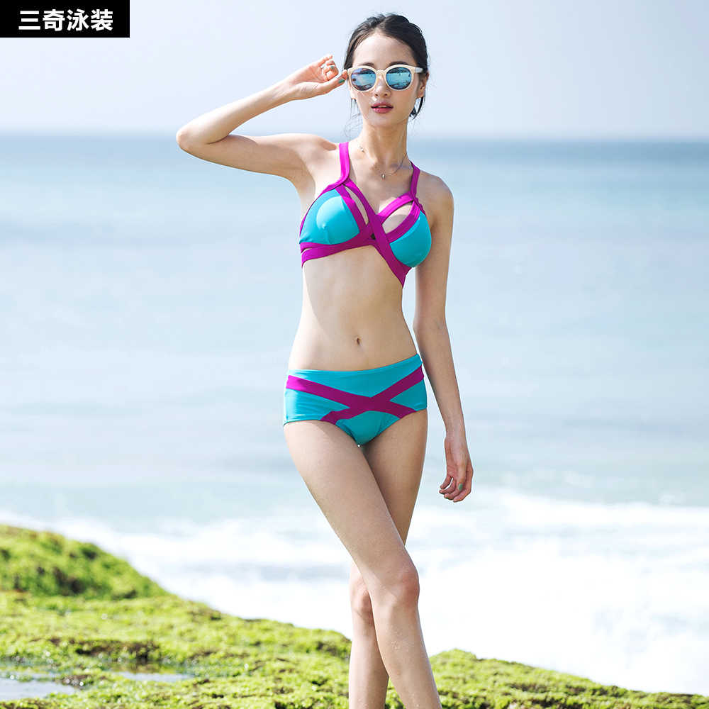 43f51215f22 Split Swimsuit female bikini sexy body thin big chest small chest gather  South Korea hot spring