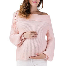 TELOTUNY Maternity sweater Pregnancy One-shoulder autumn and winter warm sweater Knitted Lace Up Wrap Knitting Sweater Z1123(China)