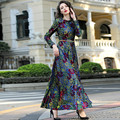 2016 Autumn and Winter Fashion Keep Warm Plus Velvet Ultra Long Dress Elegant Printed Vintage Lace Dress Plus Szie Woman Dresses