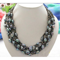 New Arriver Pearl Jewellery,5Rows 19 inches 5 16mm Black Baroque Freshwater Pearl Faceted Smoky Quartzs Necklace,Free Shipping