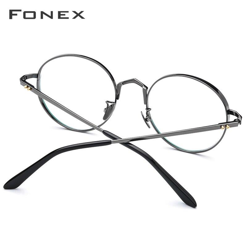 Pur titane lunettes cadre hommes ultraléger rétro rond myopie optique Prescription lunettes cadres femmes Vintage lunettes 884 - 2