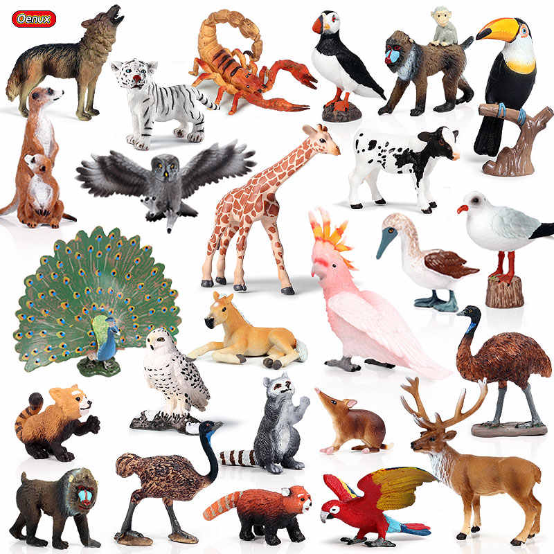 Oenux Realistic Wild Animals Action Figures Animal Zoo Tiger Horse Parrot Bird Solid PVC Model Figurines Cute Toy For Kids Gift