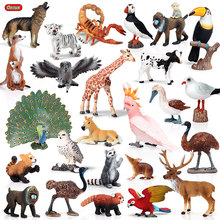 Oenux, animais de ação realista, figuras de ação, animal do zoológico, cavalo, papagaio, pássaro, modelo de pvc sólido, bonito, brinquedo para crianças presente