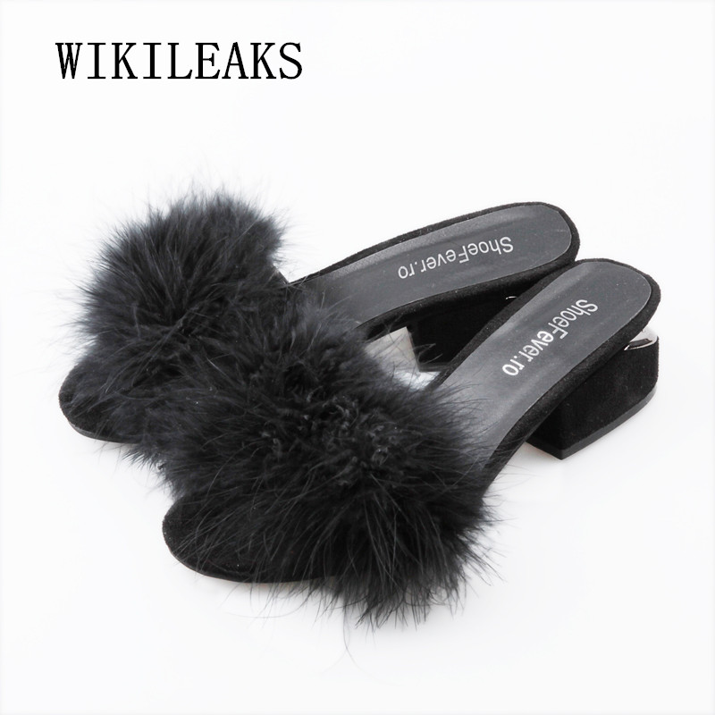 summer slippers women shoes summer 2018 ladies shoes woman slides square heel slippers fur sandals women terlik zapatos mujer