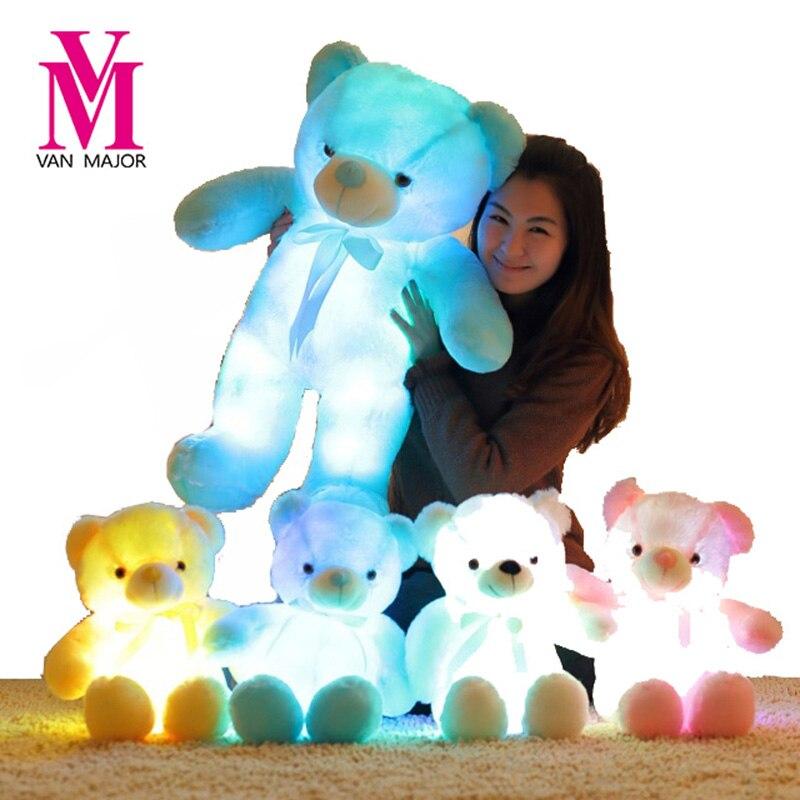 50 CM Kreative Leuchten LED Induktive Teddybär Plüschtiere Spielzeug Buntes Glühendes Teddybär Weihnachtsgeschenk für kinder