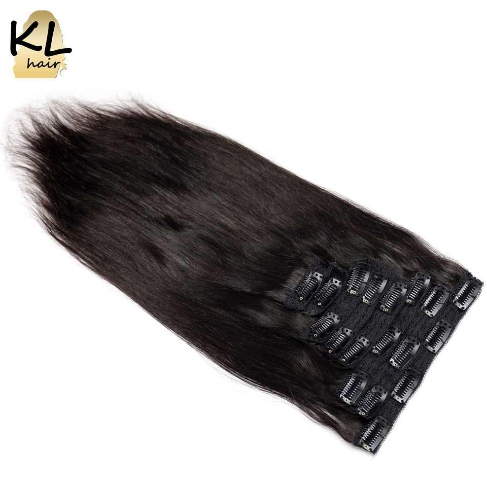 Straight Hair Clip in Human Hair Extensions Natural Color 1B Remy Hair Clip-Ins Full End 8Pcs/Set 120 Gram Free Shipping KL Hair