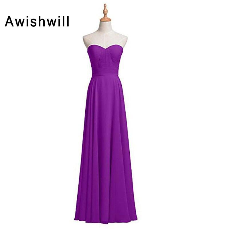 Nouveauté robe de demoiselle d'honneur chérie ruché une ligne robes de demoiselle d'honneur en mousseline de soie élégant vert menthe violet bleu 2019 - 2