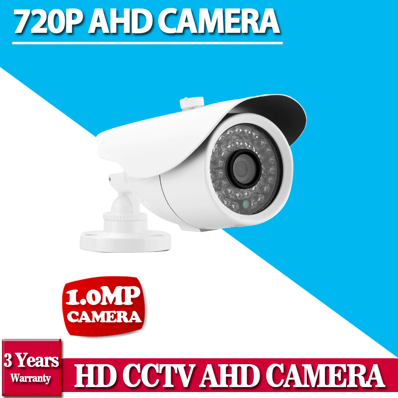 NINIVISION HD AHD 720P HD 1.0MP Bullet Camera CCTV Outdoor Security 36 IR Night Vision White for Security camera System