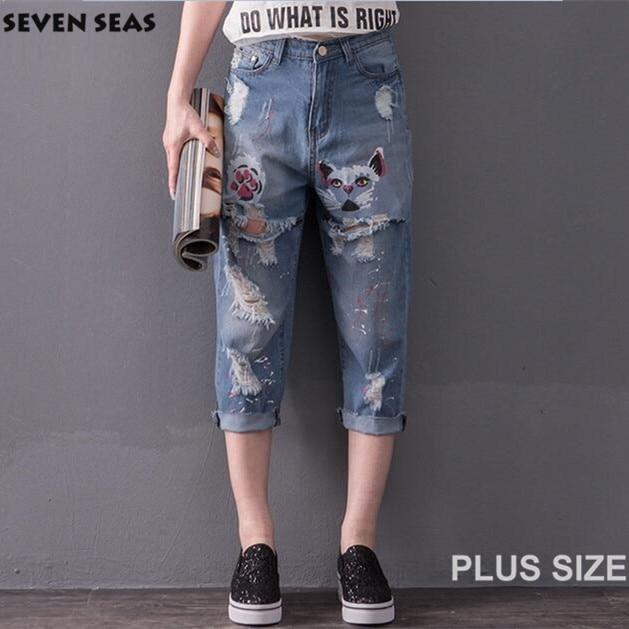 2016 New Summer Calf Length Cute Cartoon Pattern Plus size Jeans with Hole Blue Ripped jeans femme baggy boyfriend jeans women