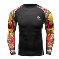 Muscle Men Compression Shirts Tight T Shirt Long Sleeves Thermal Under Top MMA Rashguard Fitness Base