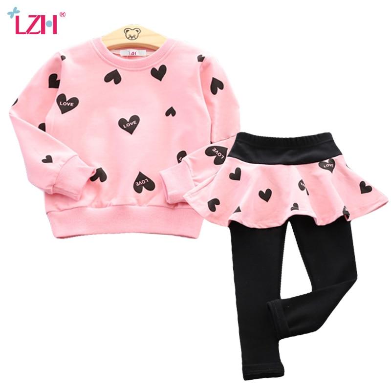 LZH Children Clothing 2018 Autumn Winter Girls Clothes T-shirt+Pants 2pcs Outfit Kids Costume Sport Suit For Girls Clothing Sets цена