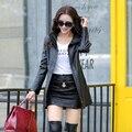 Средней длины кожа овчины Дамы Пальто Женщин Длинные Пальто Мода Плюс Размер Британский Стиль Тренчи