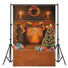 7x5ft Xmas Cloth Photography backdrop New Vinyl Christmas Tree stove Closet Gift Photo background for Studio Kids Indoor Decor