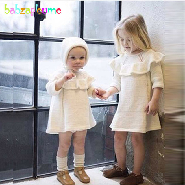 66b98b17379b 2PCS/0-5Years/Spring Autumn Baby Girls Outfits Children Clothing Sets Knit  Cute Red White Toddler Dress+Hats Kids Clothes BC1072