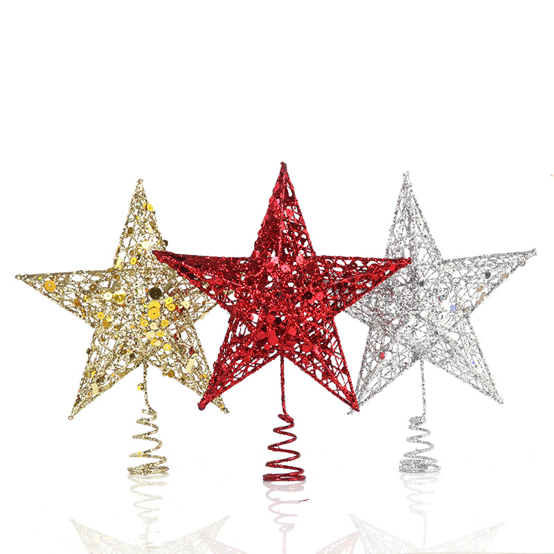Flash Powder Pentagonal Stars Iron Christmas Tree top Star Christmas Decorations 4 Sizes Available New Year Decoration for Home star