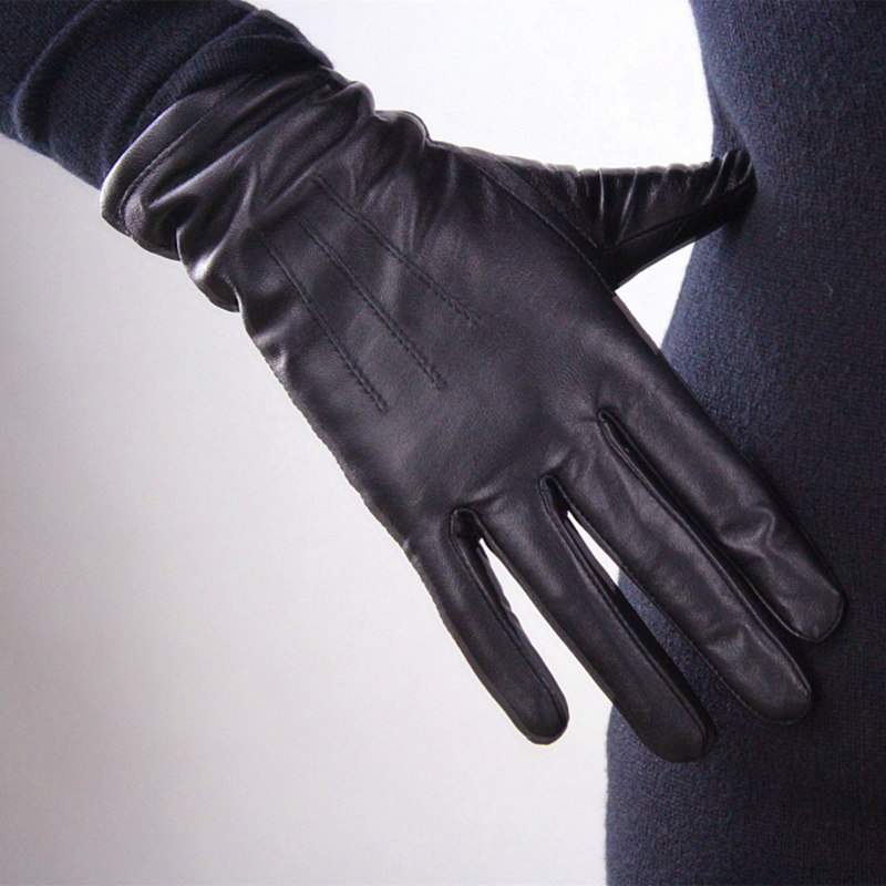 Genuine Leather Pure Sheepskin Gloves Female Black Medium And Long Section Basic Woman Plush Lined Keep Warm Mittens TB13