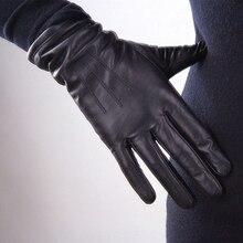 Genuine Leather Pure Sheepskin Gloves Female Black Medium An