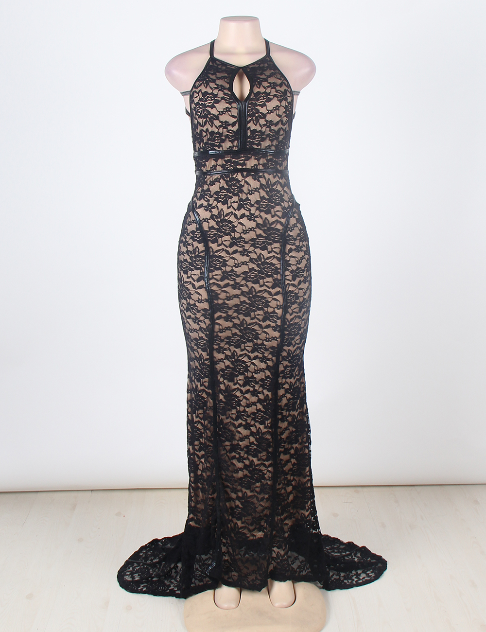 15b3084f32b VU1032 Faux leather trim lace maxi dress open back sexy floral lace off the  shoulder dress hollow out halter sexy dress long-in Dresses from Women s ...