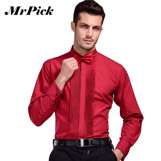 2016 New Brand French Cuff On Shirt Men S Business Casual Shirts Fashion Swallow Collar