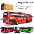 New 1:30 alloy model bus metal diecasts toy vehicles pull back & flashing & musical high simulation tourist bus New Year Gift