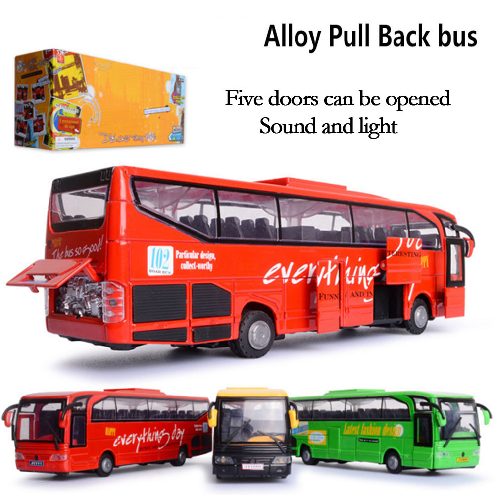 New 1 Pcs alloy model bus metal diecasts toy vehicles pull back & flashing & musical high simulation tourist bus New Year Gift