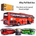 Nuevo 1:30 aleación modelo funde automóviles de juguete tire hacia atrás del autobús del metal bus turístico de moviles y musical de alta simulación Regalo de Año Nuevo