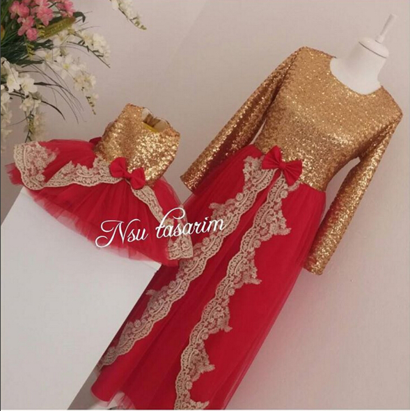 2018 summer red tulle flower girl dress for baby birthday party knee-length with gold sequin and appliques kid prom frocks korg kr mini