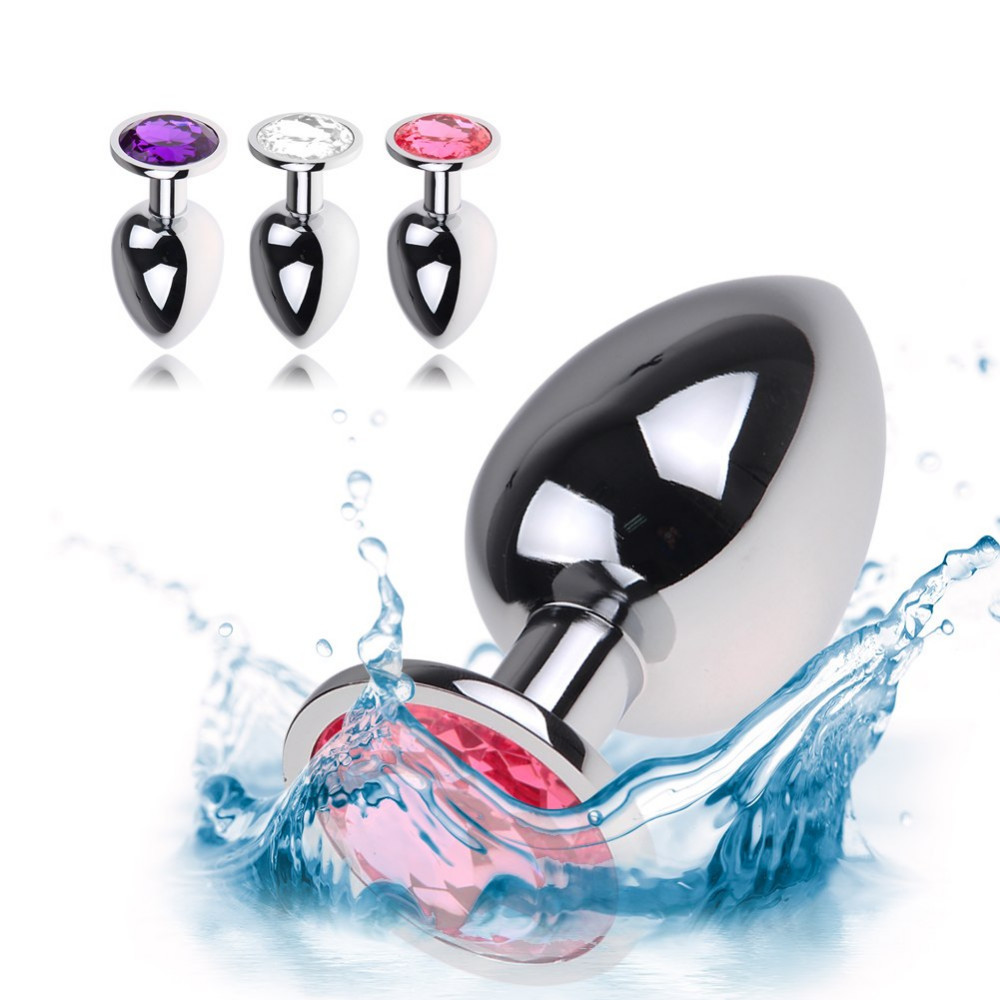 Sex Products Strict 2 Sizes For Choose Stainless Steel Metal Anal Plug Sex Toys Booty Beads Butt Plug Crystal Jewelry Anal Plug
