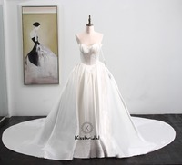 Robe de mariee New Design Wedding Dresses 2018 Sweetheart Neck Sleeveless A Line Chapel Train Satin Wedding Gowns Vestido noiva