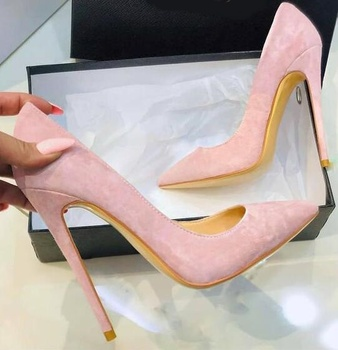 Newest Pink Suede Shallow Women Shoes High Heels Pointed Toe Stiletto Heels Dress Shoes Ladies Wedding Shoes Bride 12 10 8cm