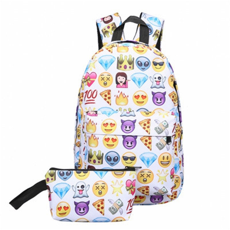 Arsmundi Fashion Printing Emoji School Bags 2-piece Set Backpack Canvas Teenager Girls Travel Bag Rucksack Mochila Infantil