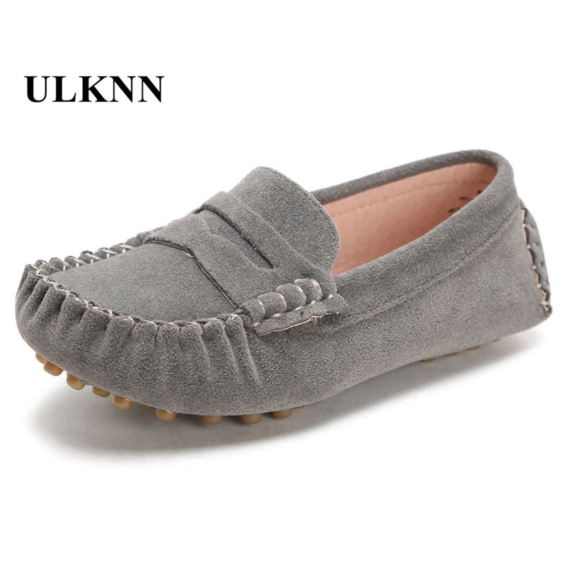 Fur Children's Shoes Casual Leather Shoes Kids 2017 Fashion New Peas Shoe For Boys Outdoor Baby Girls 7 Colors Large Size