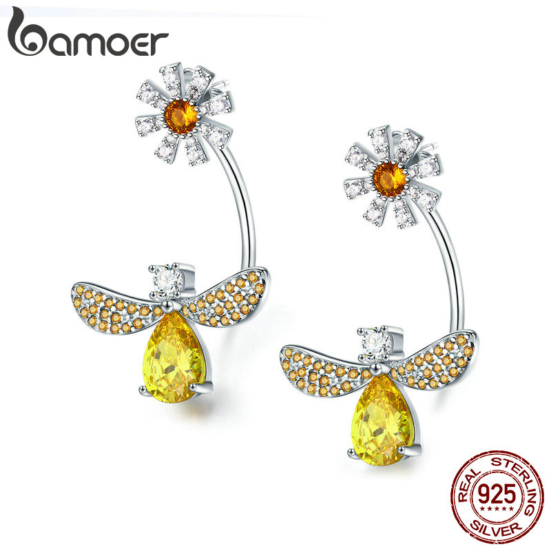 BAMOER High Quality 925 Sterling Silver Insect Collection Crystal Bee Daisy Flower Drop Earrings for Women Silver Jewelry SCE370