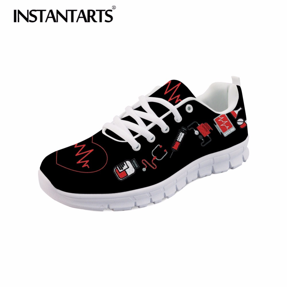 INSTANTARTS Cute Cartoon Nurse Sneakers Autumn Breathable Lace Up Women's Casual Flats Shoes Nurse Heartbeat Print Mesh Zapatos