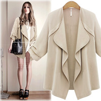 Women S Leisure Open Stitch Long Cotton Loose Coat Solid Color Full Sleeve Casual Jacket
