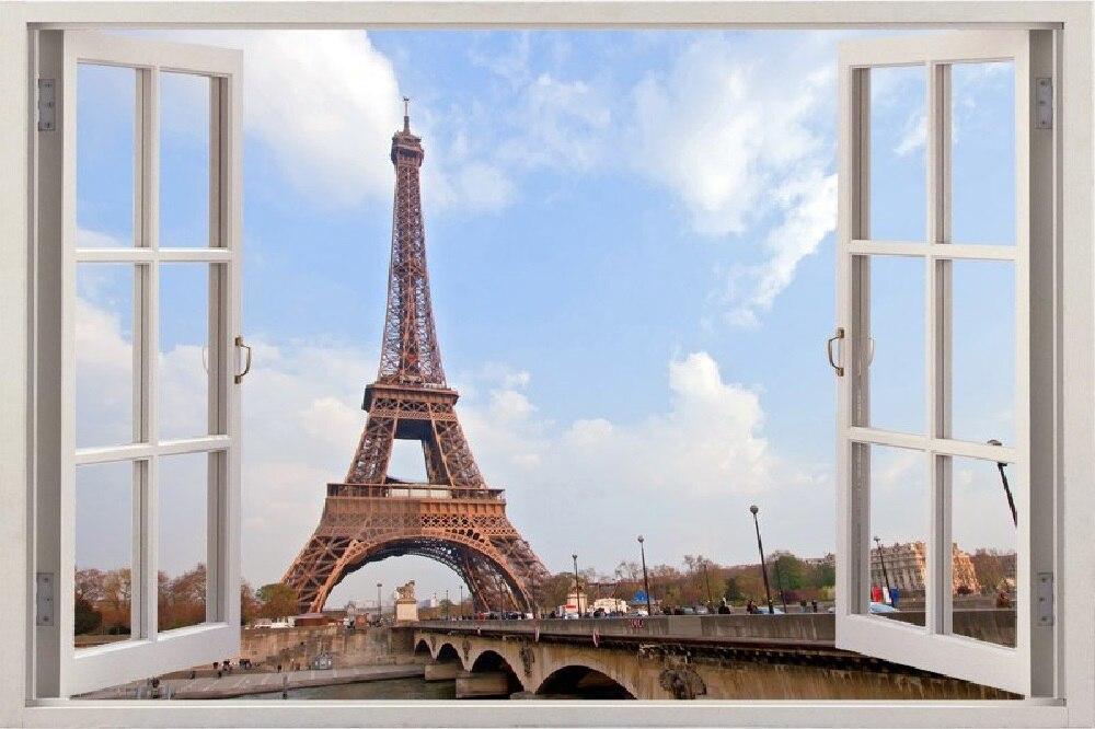 Home Art Decor 3D Effect False Window Eiffel Tower Pattern Wall Sticker Decal