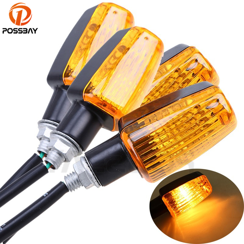 POSSBAY 4Pcs Universal Motorcycle Turn Signal Lights Blinker Bulb Amber Flasher Light For Honda Kawasaki Suzuki Yamaha Lamp