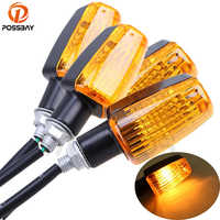 POSSBAY 4Pcs Universal Motorcycle Turn Signal Lights Blinker Bulb Amber Flasher Light for Honda Kawasaki Suzuki Yamaha Lamp