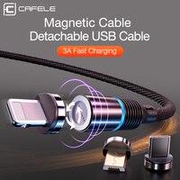 Магнитный usb-кабель CAFELE для iPhone huawei samsung Xiaomi Micro type C Магнитный зарядный кабель для ios Android Поддержка синхронизации данных