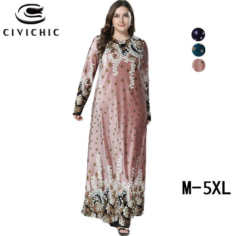 CIVICHIC femmes grande balançoire robe grande taille automne hiver Maxi robe ethnique Floral imprimé lâche Jurk flanelle velours Vestidos DRS318