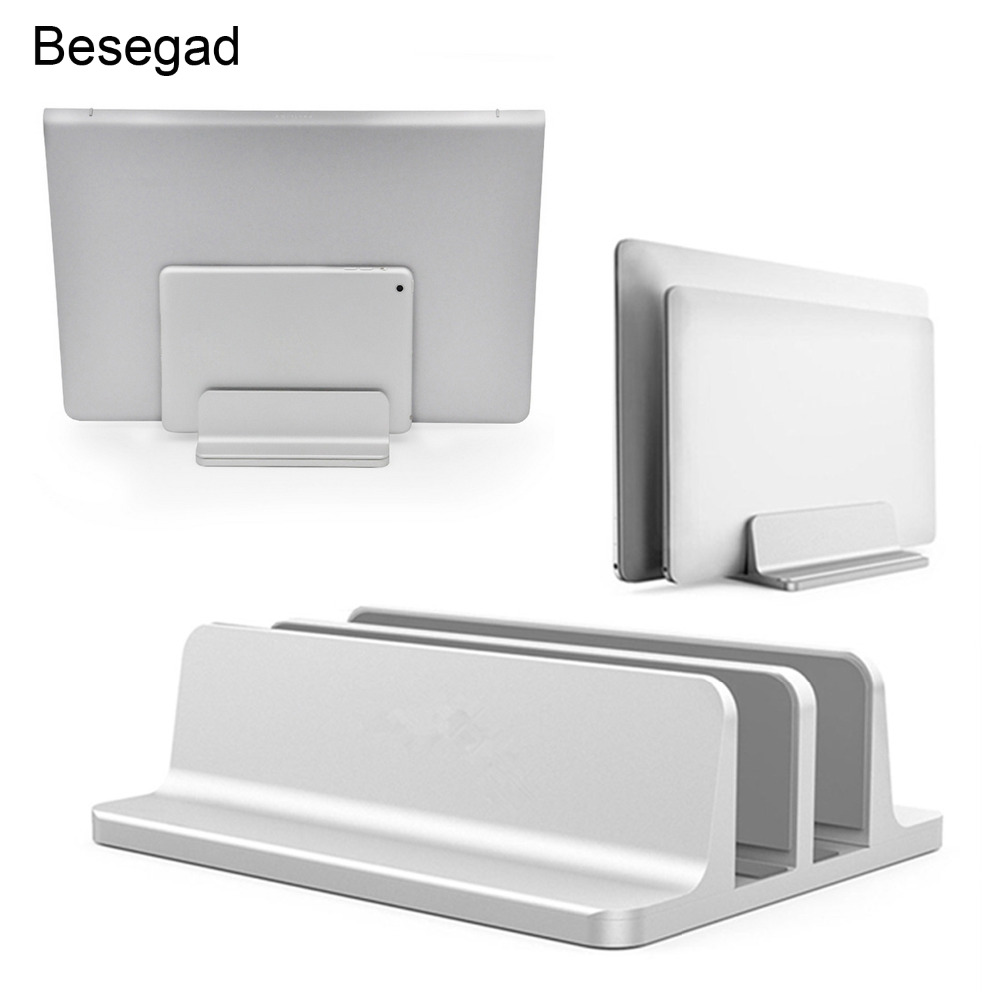 Besegad Dual-slot Vertical Adjustable Laptop Tablets Cooling Stand Bracket Holder for Apple MacBook Pro Mac Book Lenovo Notebook