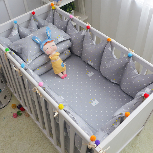 5 Teilesatz Krippe Bettwäsche Grau Crown Muster Baumwolle Baby