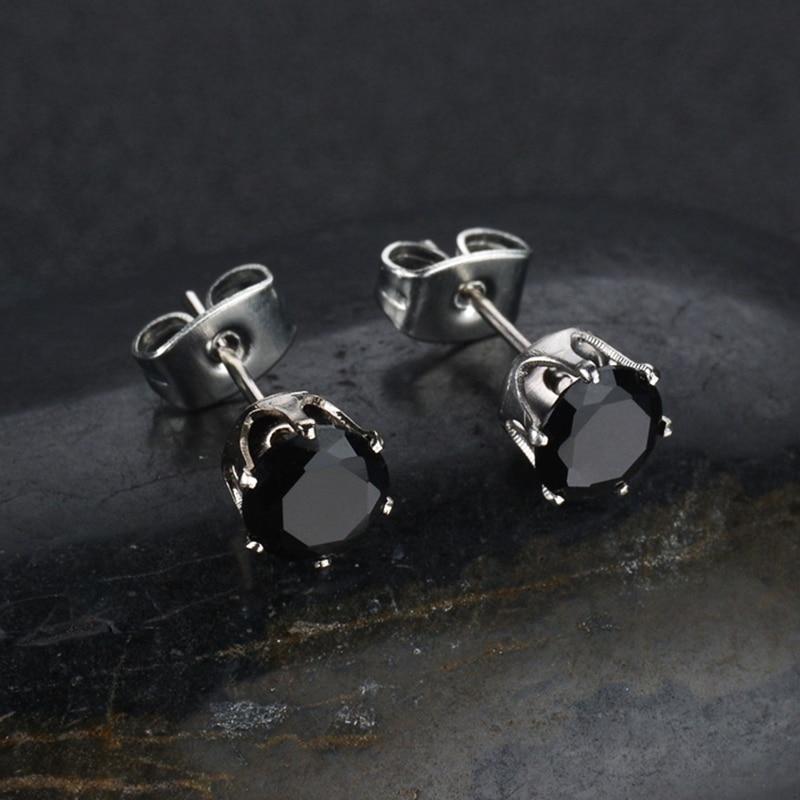 Classic Round Black Zircon Small Stud Earrings Silver Stainless Steel Earring Women Man Jewelry